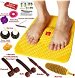 Super India Store Acupressure Power Mat With Magnets & Pyramids For Pain Relief & Total Health Care + 2 Wooden Face Massagers
