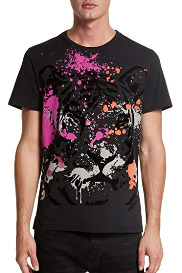 0e3aa16d Versace Jeans Lion & Paint Splatter Print Short Sleeve Tee, Black (Large)