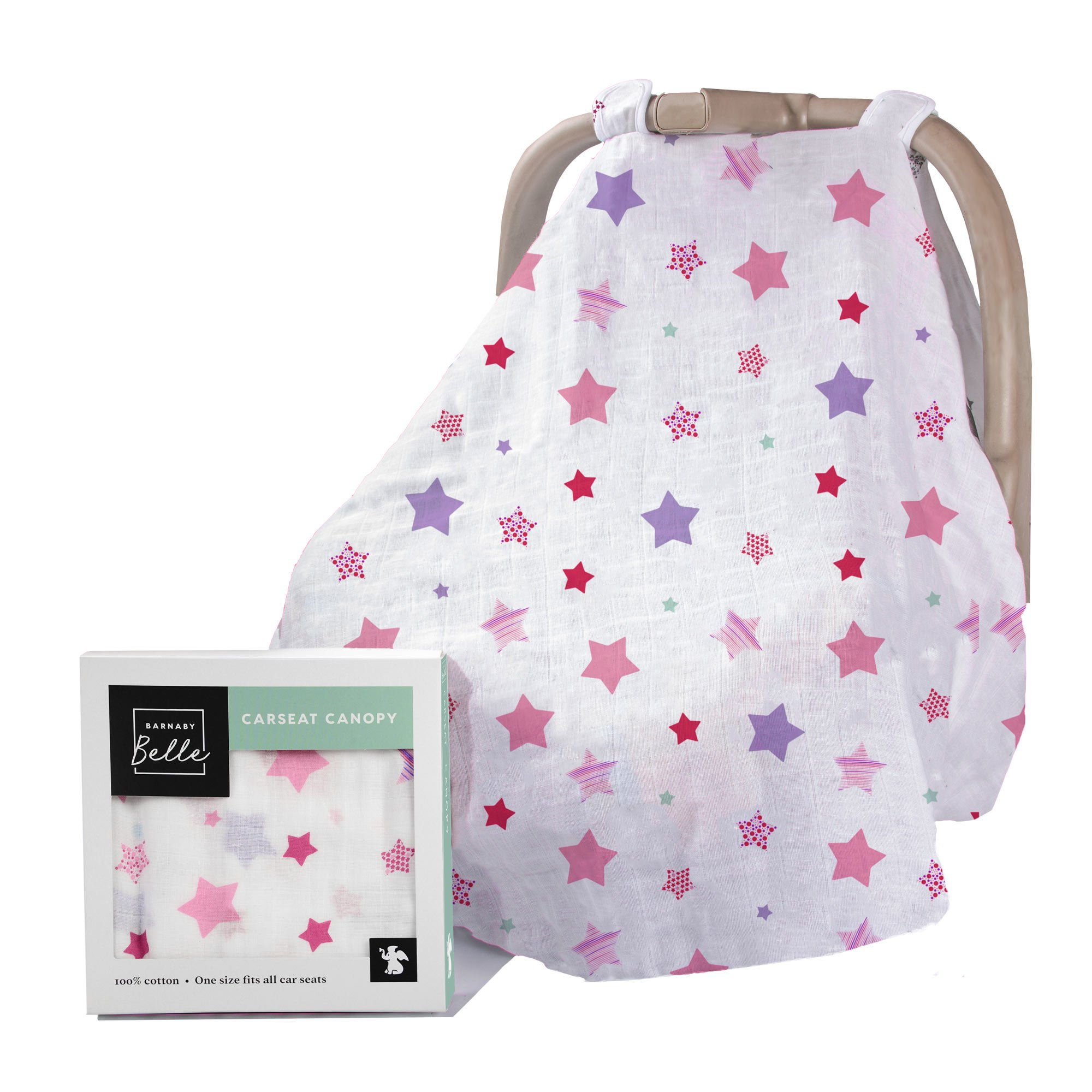Barnaby Belle 'Pink' Baby Car Seat Covers, Girls or Boys Infant Carseat Canopy Cover