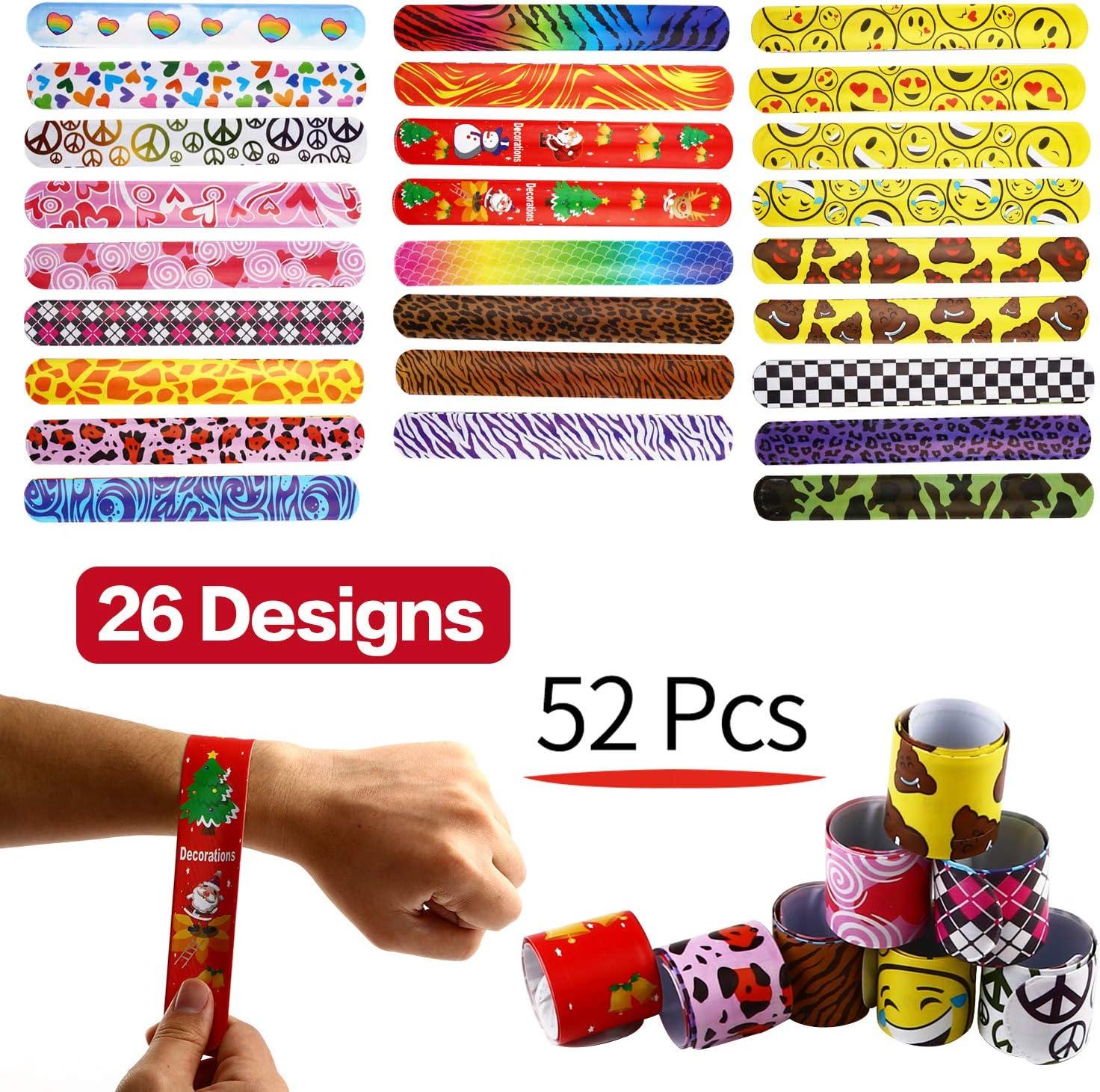 Juguetes Pulseras De Juguete Infantiles, Paquete De 52 Pulseras Enrollables (26 Diseños), Pulseras Enrollables Con Diseños De Corazones De Colores, Emoji, Paz, Estampados Animales Juguetes De Fiesta