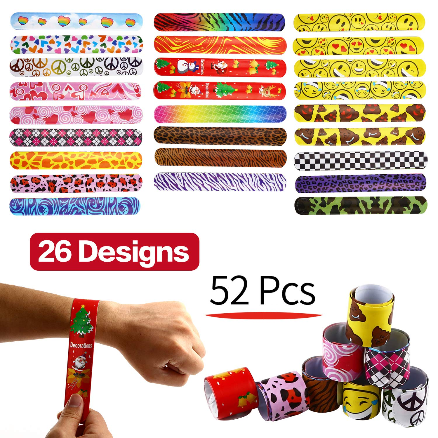 52 pack slap bracelet set