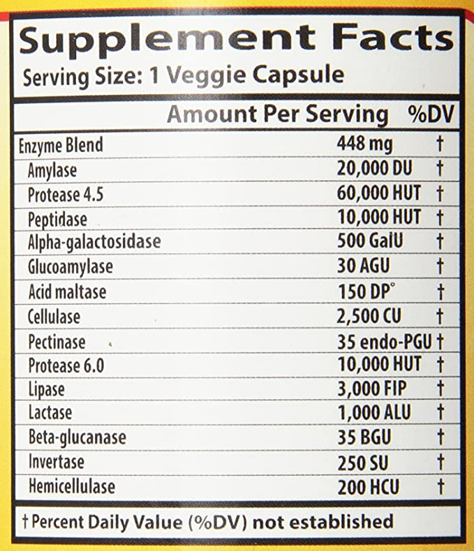 Las enzimas digestivas, de amplio espectro, 180 Caps Veggie ...