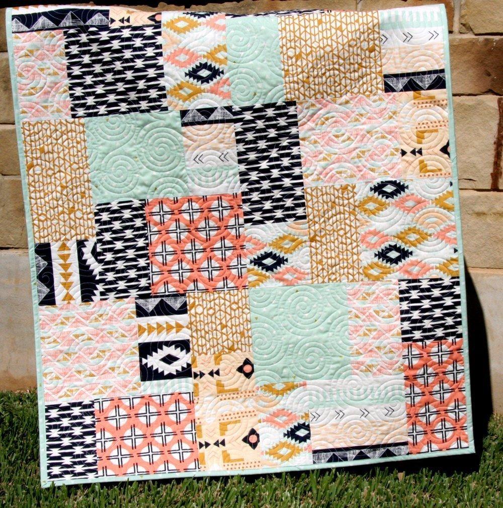 Aztec Baby Quilt Navy Gold Coral Pink Mint Green Arizona Tribal Bedding Nursery Blanket Triangles Modern Trendy Designer Custom Bedding
