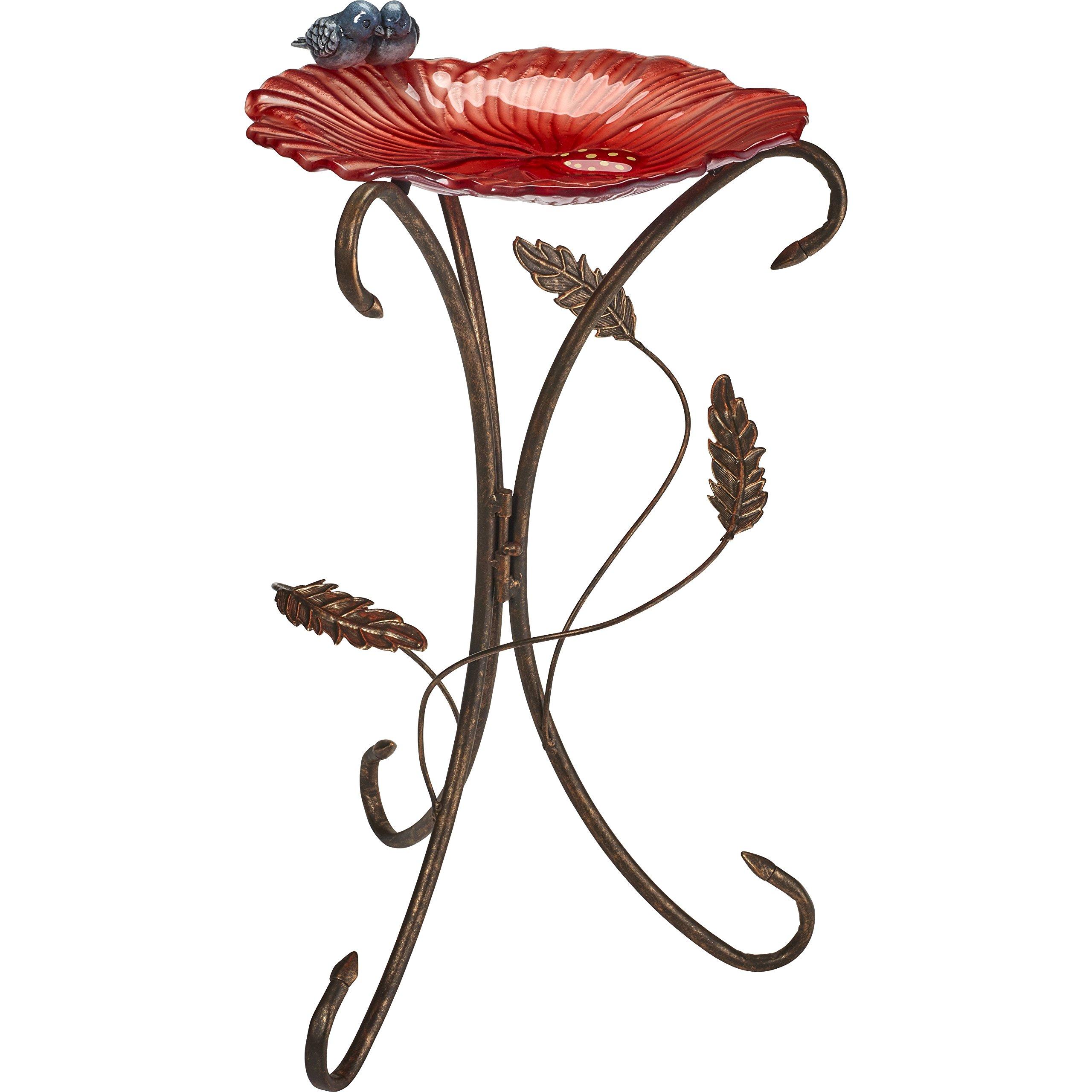 Precious Moments Garden Gifts by Garden Coral Red Flower Petal With Bluebirds Bird Bath 185002