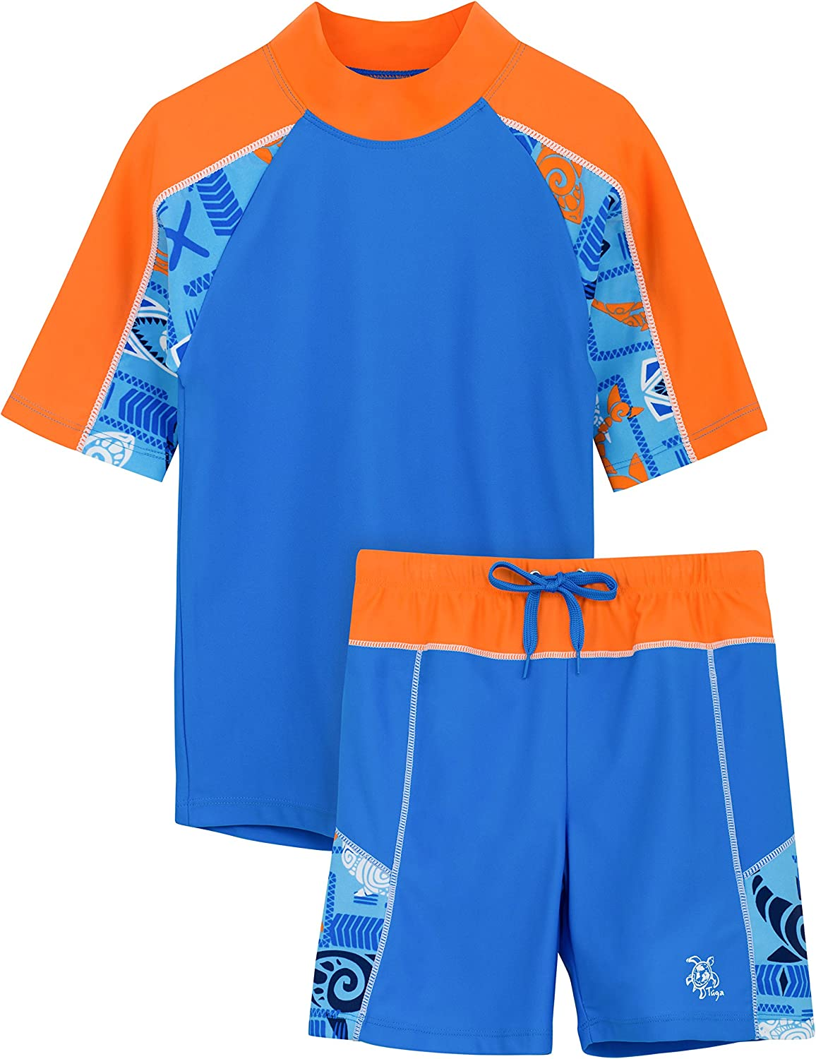 Tuga Boys Two-Piece Short Sleeve Swim Suit Set 2-14 Years UPF 50 Swimwear