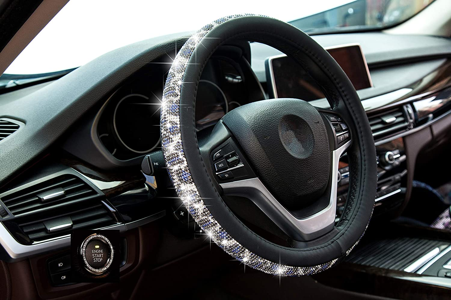 Crystal Steering Wheel Cover, Leather Surface Bling Bling Rhinestone, Black Universal 15-inch Protector for Female Girls. (Bling Black White Blue)