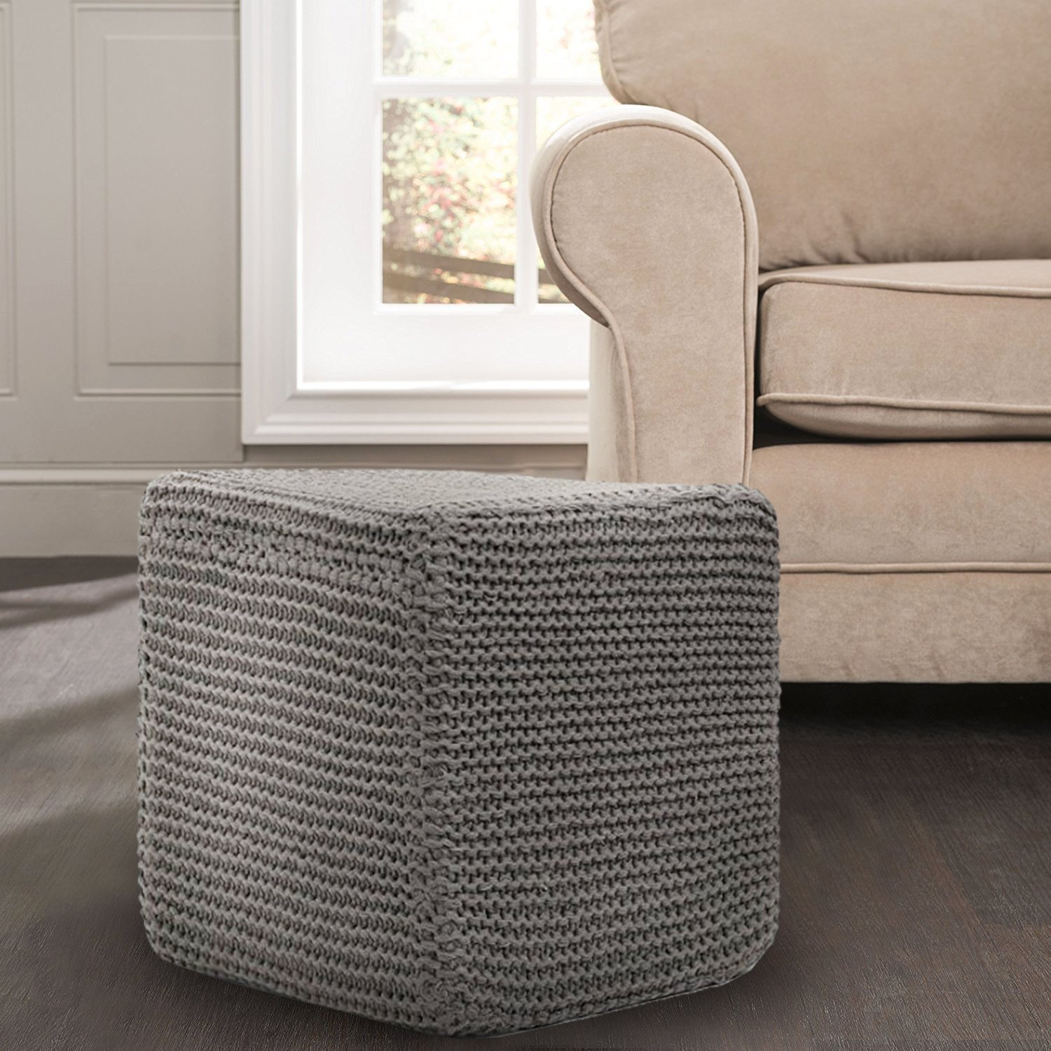 Great Home Discounts Hand Knitted Cable Style DoriPouf –Handmade Floor Ottoman With 100% Cotton Braid Cord –Super-Soft Hand Stitched BeanBag Chair–Handcrafted Cable-Knit Foot Rest (15''X15'')