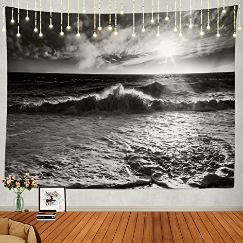 Shrahala Ocean Wave Black and White Tapestry, Ocean Black Nature Wall Hanging Large Tapestry Psychedelic Tapestry Decorations Bedroom Living Room Dorm 59.1 x 82.7 Inches, Black White