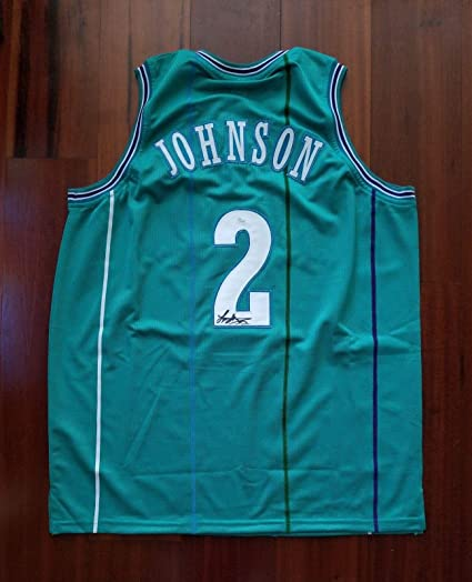 c0df2d180 Image Unavailable. Image not available for. Color  Larry Johnson (NBA) Autographed  Jersey - Charlotte Hornets - JSA ...