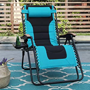 Sophia & William Padded Zero Gravity Chair Oversize Lounge Chair with Free Cup Holder, Supports 350 LBS