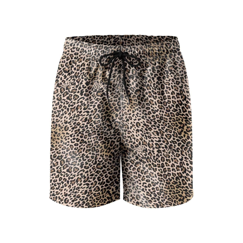 FullBo Leopard Cheetah Print Brown Men's Swim Trunks Quick Dry Beach Shorts by Queen Hero