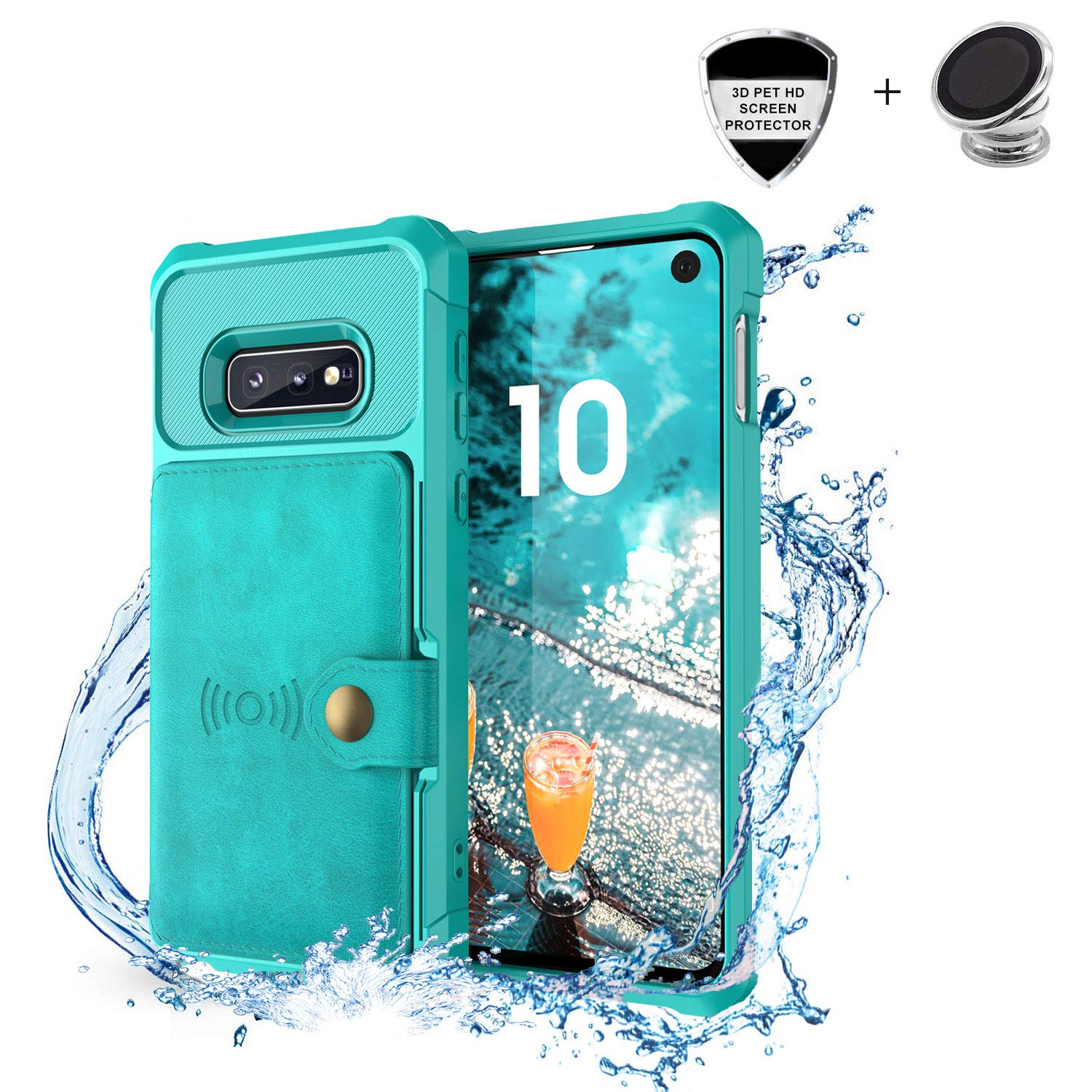 Samsung Galaxy S10 Plus Case, Sumsung S10 Plus Wallet Flip Leather Kickstand Fit Magnetic Car Mount Wireless Charging Slim Durable Shockproof Protective Case Cover with Card Holder (Turquoise)