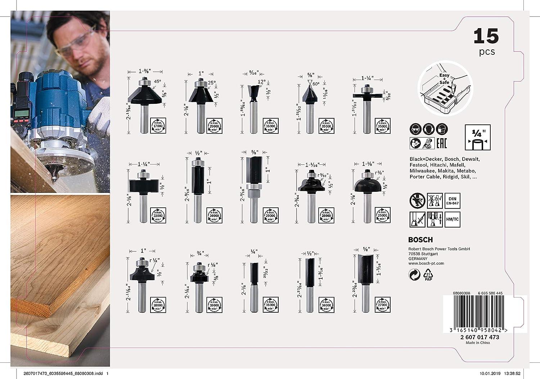 Set da 15 pezzi Set di frese per legno, per frese verticali con gambo da 1//4 Bosch Professional 2607017473