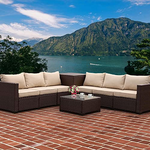 VALITA 6 Pieces Patio PE Wicker Furniture Set Outdoor Brown Rattan Sectional Conversation Sofa Chair