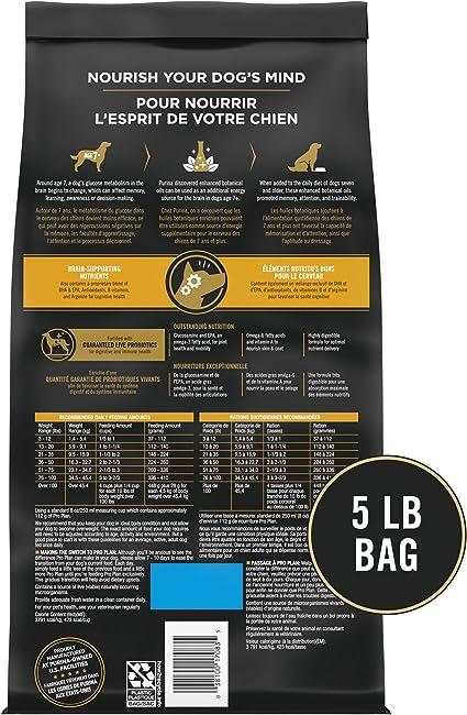 Purina Pro Plan Alimento para perros secos, menta brillante, adulto 7 + pollo y fórmula de arroz, bolsa de 5 libras, paquete de 1