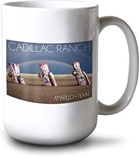 product image for Lantern Press Amarillo, Texas - Cadillac Ranch - Double Rainbow (15oz White Ceramic Mug)