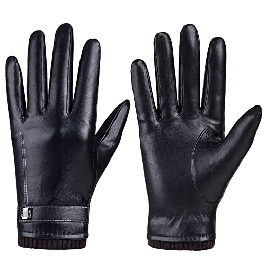 d04114af225c7 Image Unavailable. Image not available for. Color: Winter Women Gloves PU  Leather ...