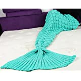 """Amazon Price History for:Cokle Adult Mermaid Tail Fish Scales Blanket Soft Knit Crochet Sleep Blankets for Bedroom Sofa 70""""x36"""" Green"""
