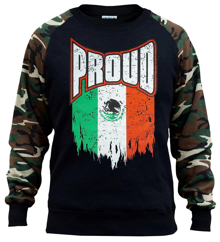 Interstate Apparel Mens Shredded Proud Mexico Flag Black//Camo Raglan Baseball Sweatshirt Black