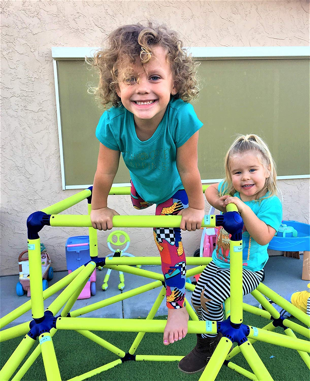 Eezy Peezy Monkey Bars Climbing Tower - Active Outdoor Fun for Kids Ages 3 to 6 Years Old, Green/Blue - TM200