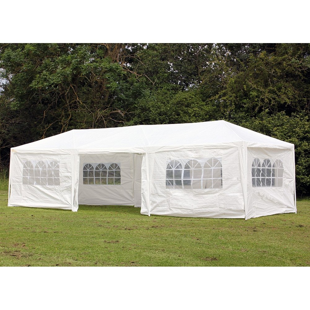 Palm Springs 10 X 30 Wedding Gazebo Party Tent Marquee With Sides Amazoncouk Garden Outdoors