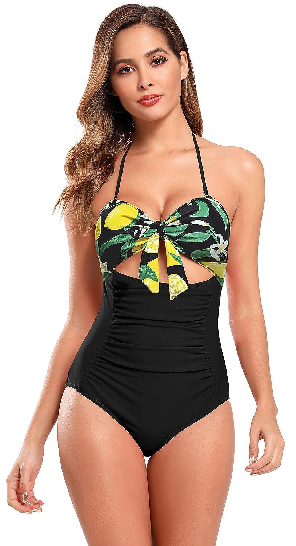SHEKINI Costumi da Bagno Donna Un Pezzo Bandeau Elegante Stampati Halter Fiocco Decorativa Ruched Controllo Addominale Triangolo Cutout Costume Intero da Spiaggia