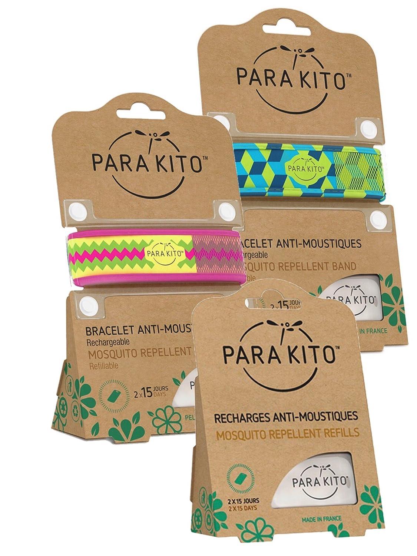 Parakito - PROTECCION NATURAL ANTIMOSQUITO - KIT 2 x Parakito PULSERA repelente de mosquitos (Azul verde y fucshia) + 1 x Recarga Parakito Para Pulsera: ...