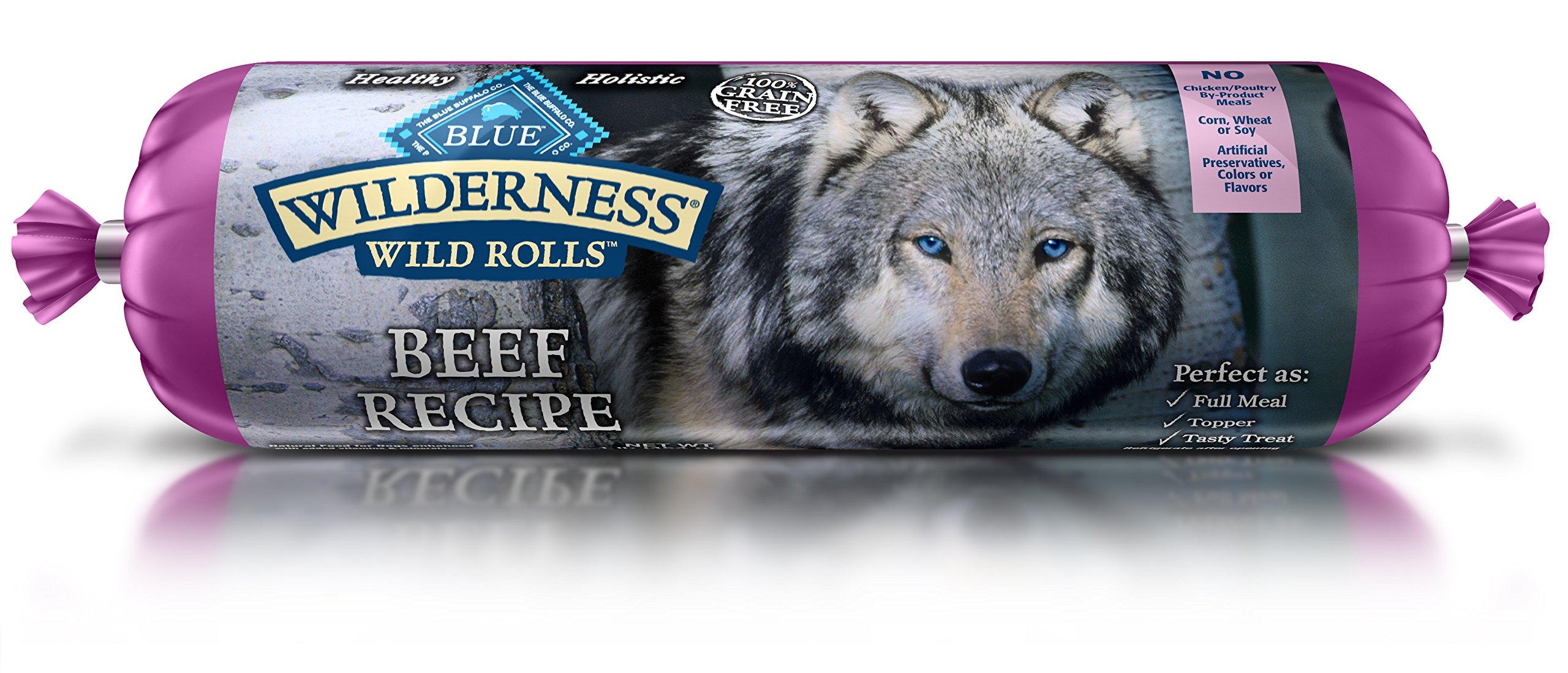 BLUE Wilderness Adult Grain-Free Wild Rolls Beef Wet Dog Food 1-lb