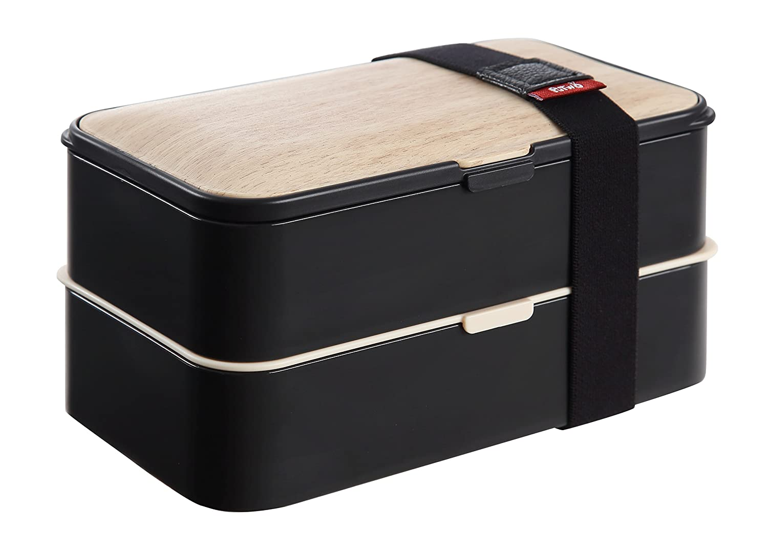 PuTwo Bento Box Leakproof 2 Tier with Cutlery Lunch Box Microwave BPA Free All-in-One, Bamboo Black 713262646229