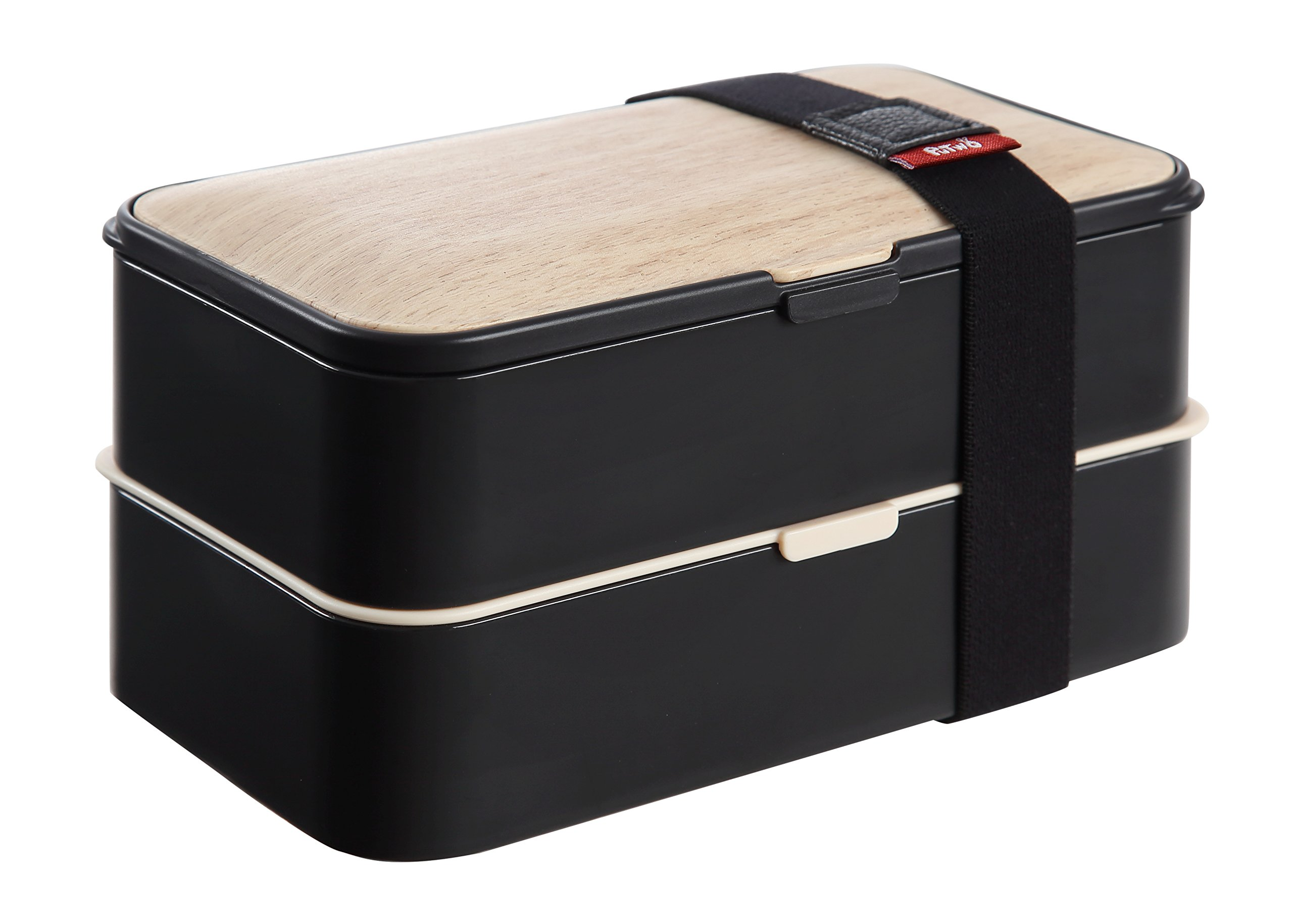 PuTwo Bento Box Leakproof 2 Tier with Cutlery Lunch Box Microwave BPA Free All-in-One - Bamboo Black