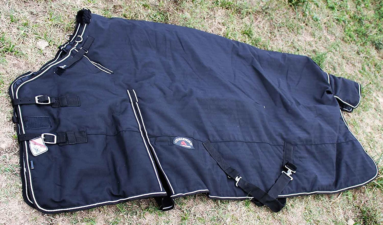 CHALLENGER 76 1680D Turnout Waterproof Horse Winter Blanket Heavy Weight Black 601G TackRus