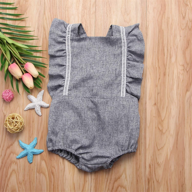 Summer Newborn Kid Baby Girls Backless Ruffles Sleeve Romper Jumpsuit Outfits