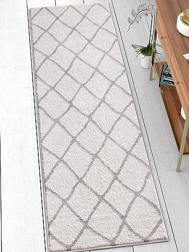 Clara White Grey Modern Beni Ourain Microfiber 2×7 2 3 x 7 3 Runner Area Rug Vintage Moroccan Trellis Tribal Carpet