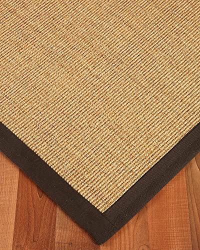 NaturalAreaRugs Natural Fiber Montreal Sisal Area Rug, Handmade, Cotton Canvas Border, Non-Slip Latex Backing, Stain Resistant, 9 x 12 Fudge Border