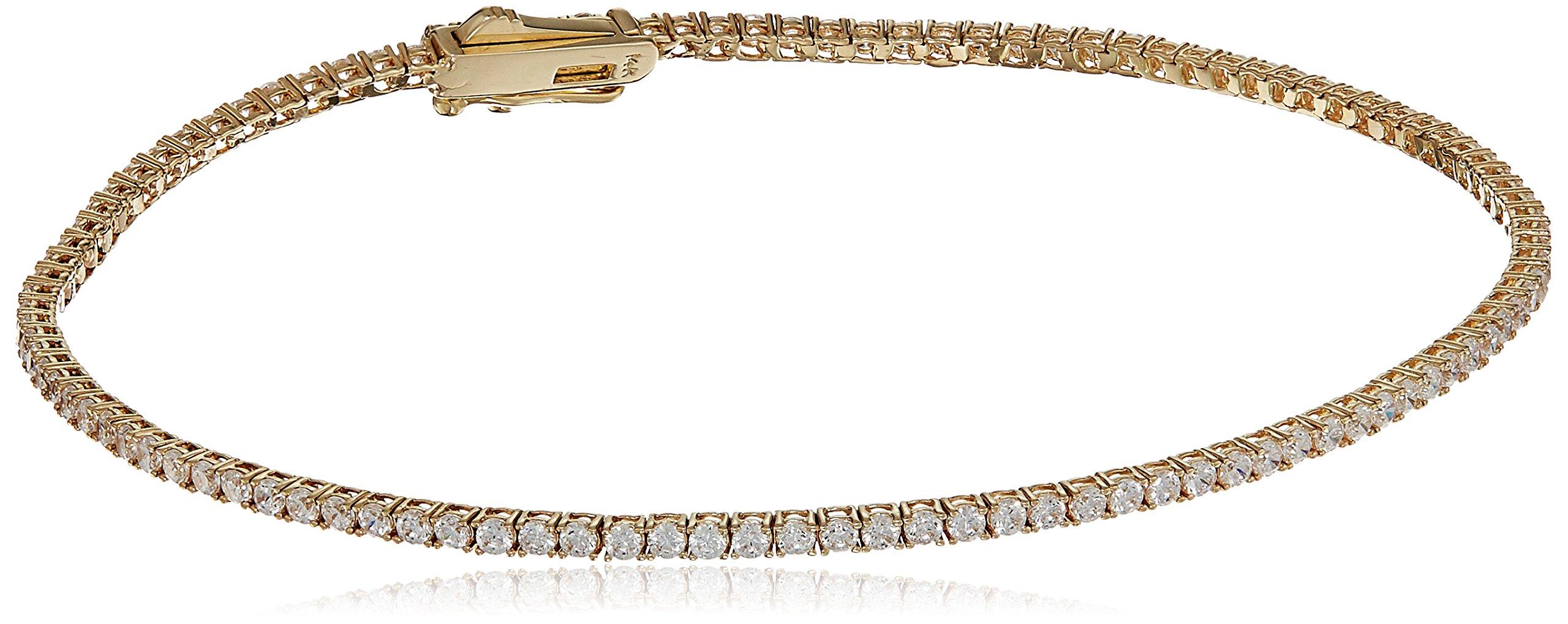 14k Yellow Gold Cubic Zirconia Round Brilliant Classic Style Eternity Tennis Bracelet, 7.25''