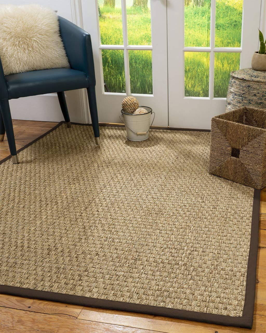 Natural Area Rugs 100 , Natural Fiber Handmade Basketweave, Seagrass Rug, 2 x 3 Fudge Border