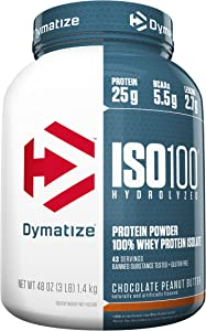 Dymatize ISO100 Hydrolyzed Protein Powder, 100% Whey Isolate Protein, 25g of Protein, 5.5g BCAAs, Gluten Free, Fast Absorbing, Easy Digesting, Chocolate Peanut Butter, 3 Pound