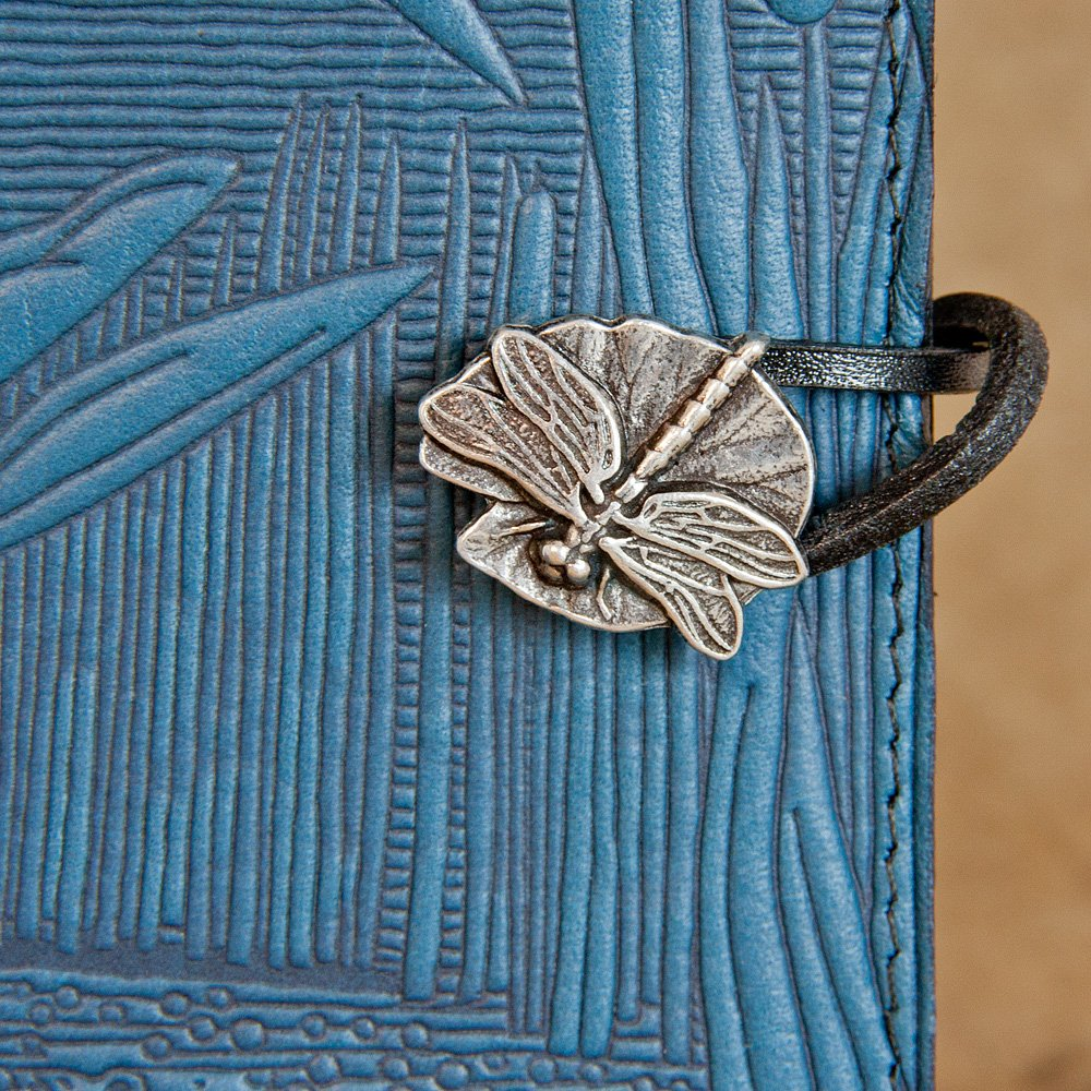 Genuine Leather Refillable Journal Cover + Hardbound Blank Insert - 6x9 Inches - Dragonfly Pond, Sky Blue With Pewter Button - Made in the USA by Oberon Design by Oberon Design (Image #4)