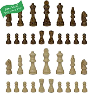 Staunton Chess Pieces by GrowUpSmart with Extra Queens | Size: Small - King Height: 2.5 inch | Wood