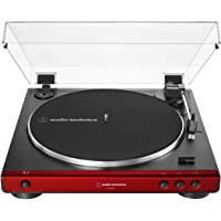 Audio-Technica AT-LP60X-RD Fully Automatic Belt-Drive Stereo Turntable, Red, Hi-Fi, 2 Speed, Dust Cover, Anti-Resonance, Die-Cast Aluminum Platter