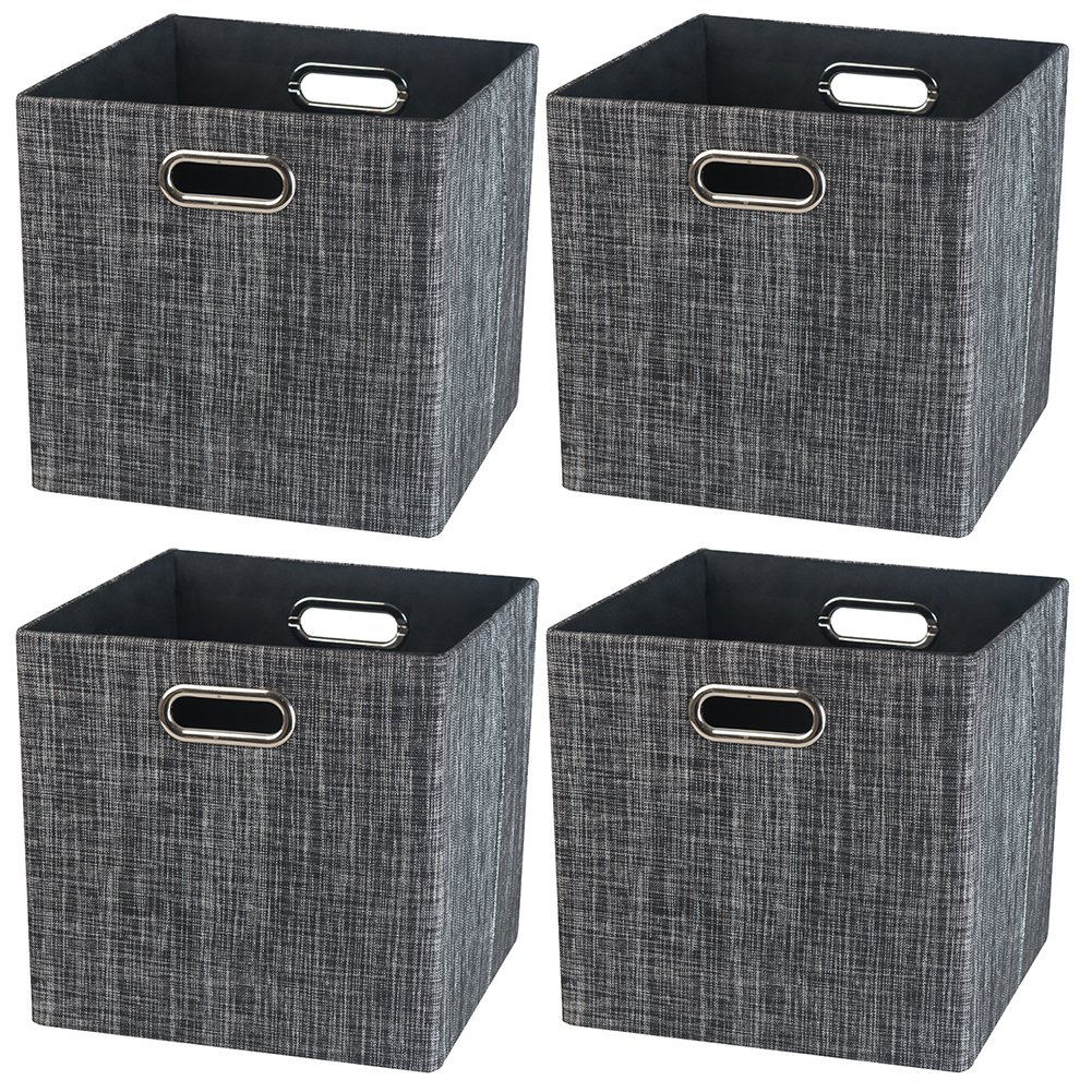 Foldable Storage Basket Bins,13x13 Storage Containers,Closet Organizer for Shelf Cabinet Bookcase Boxes,Thick Fabric Drawers,4pcs, Sliver Grey Nicemoon