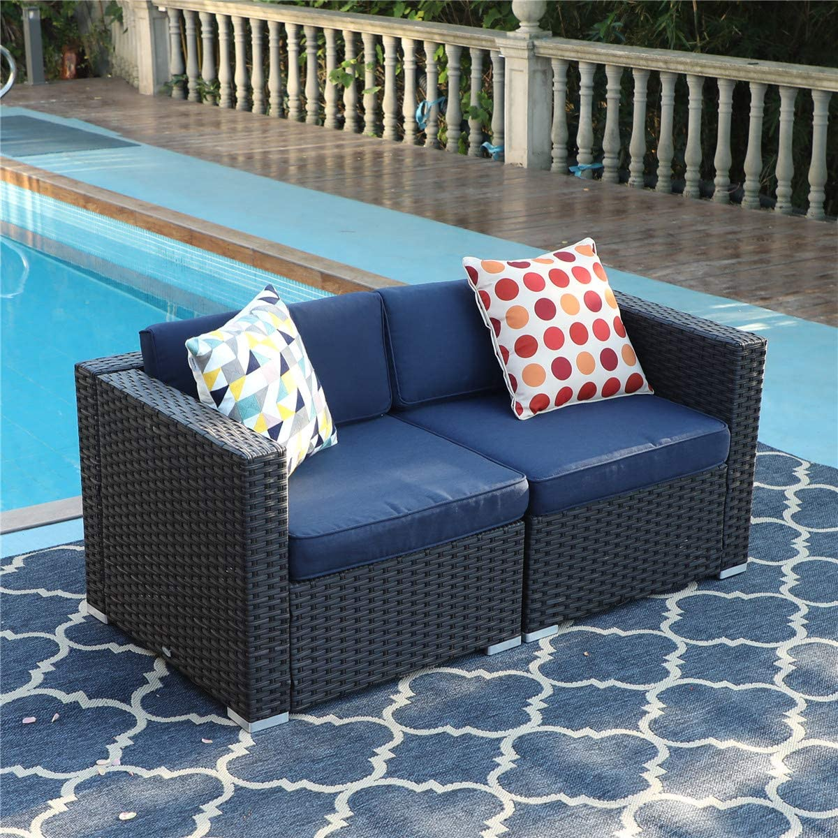 PHI VILLA Patio Furniture Sofa Outdoor Loveseat 2 Piece Patio Couch with Washable Cushions, Outdoor Furniture Sofa Sets Blue