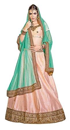 919d48bbcf Image Unavailable. Image not available for. Colour: Melluha light pink  banarasi silk Lehenga with softnet with diamond work light green color  Dupatta