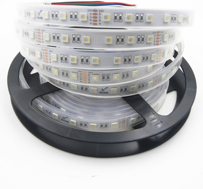 Tira de luces LED 4 en 1, Visdoll, RGBWW/RGBW, 5 metros, 300 LEDs, 5050 RGBW RGBWW, tira de luces flexible y con cambio de color , Rgbw 300LED - Luz LED impermeable (24 V), color blanco