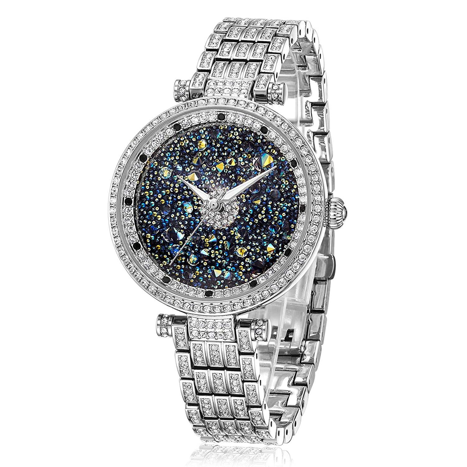 Princess Butterfly Watches Women Silver Crystal Watches for Women Silver Watch with Diamonds, Crystal Watches Platinum Plated Stainless Steel Crystal Watch, Waterproof Women s Watch Japan Quart