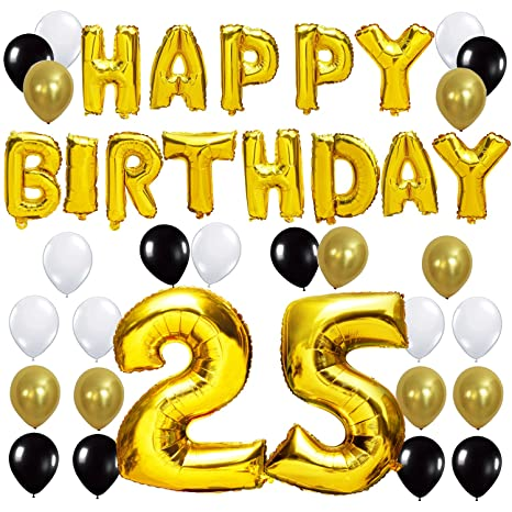 Kungyo Letras Tipo Balon Doradas Happy Birthday Numero 25 Mylar Foil