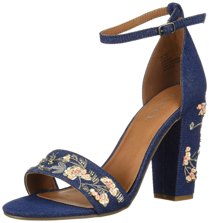 Sugar Womens Silck Flower Floral Embroidered Block High Heel Sandal