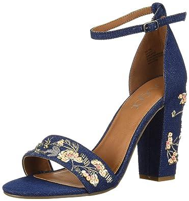 5892da37449 Sugar Women s Slick Floral Embroidered Block Heel Sandal Heeled