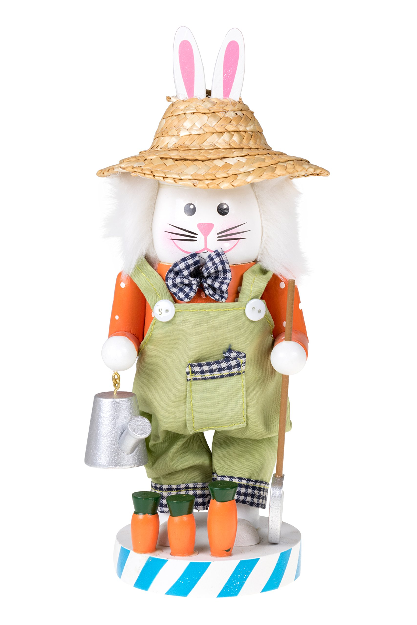 Gardening Bunny Spring Nutcracker by Clever Creations | Wearing Straw Hat and Brown Overalls | Watering Can and Shovel | Collectible Wooden Nutcracker | Festive Holiday Decor | 100% Wood |10'' Tall