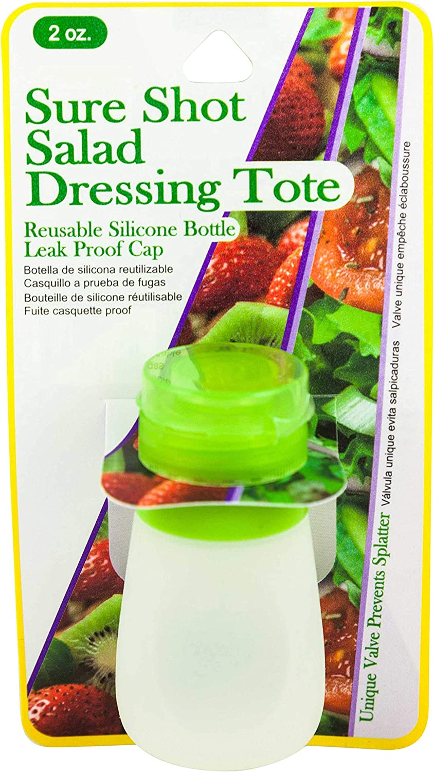 Dressing-2-Go Portable Squeezable Leak Proof 2oz Salad Dressing Lunch Container
